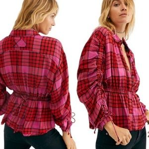 NEW FREE PEOPLE / PACIFIC DAWN PLAID SNAP TOP